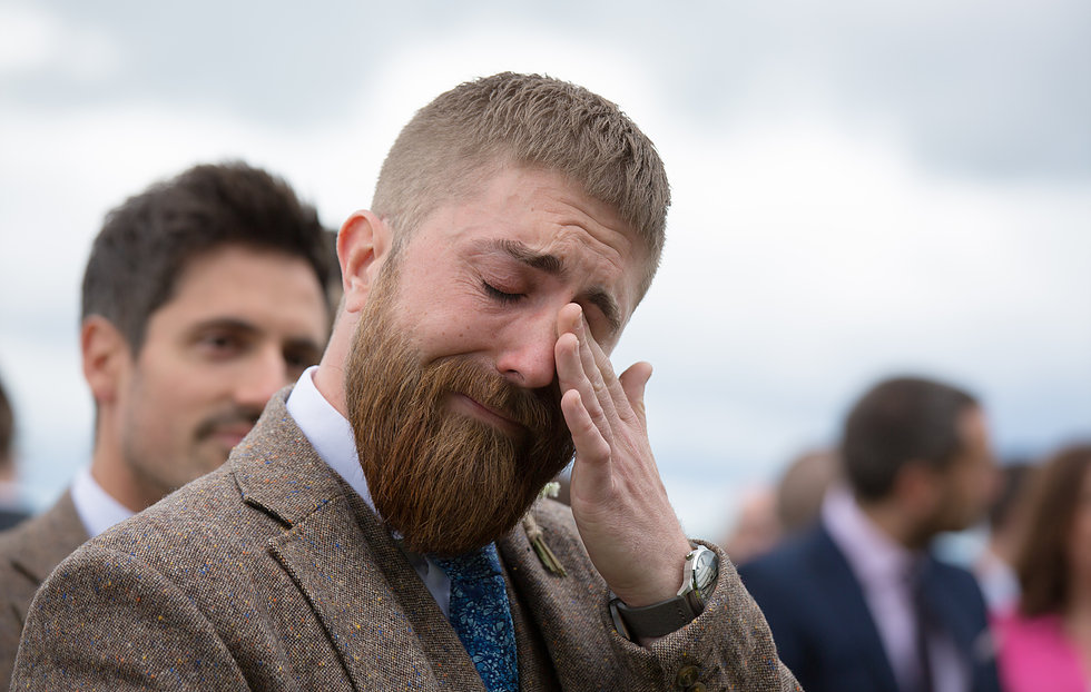 Groom crying on seeing his bride in Staffordshire