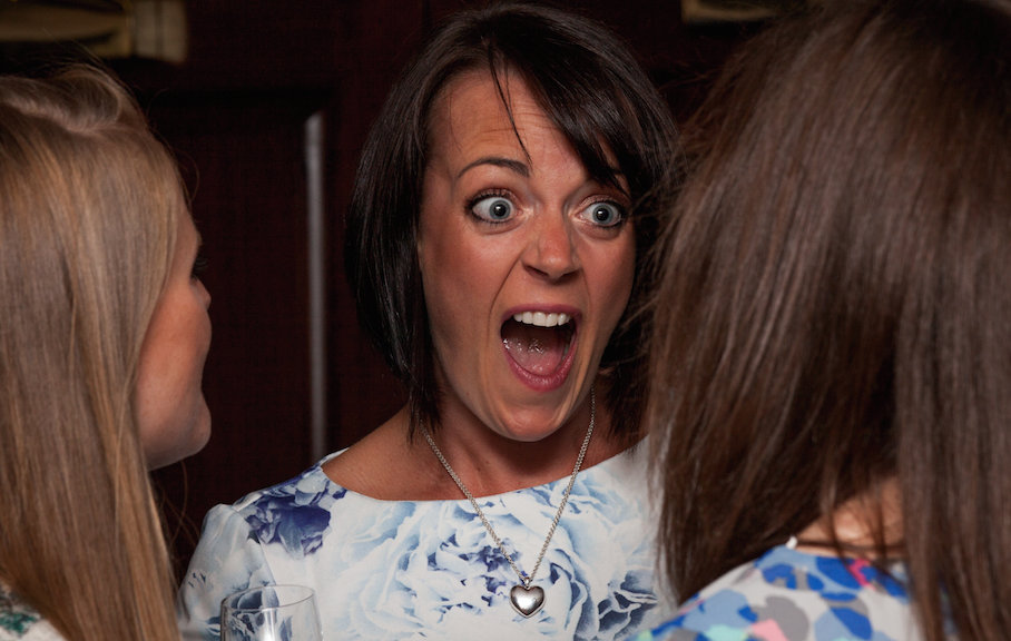 Wedding guest pulling a funny face